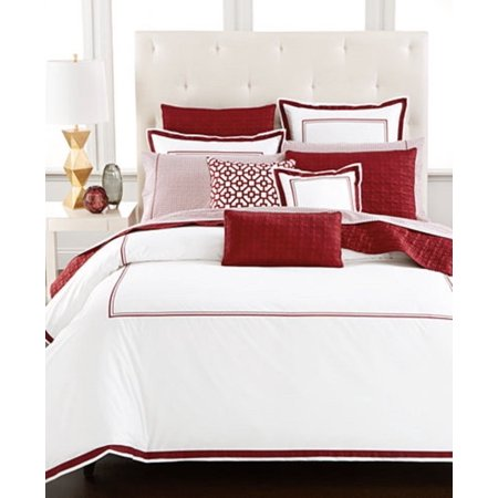 Hotel Collection Embroidered Frame White Port Red Twin Comforter