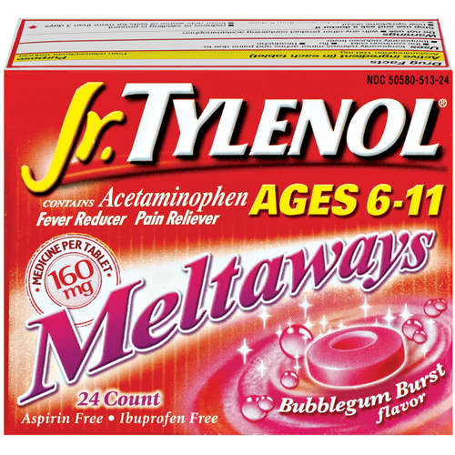 McNeil Tylenol Jr. Meltaways Fever Reducer/Pain Reliever, 24 ea
