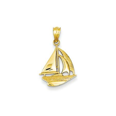 14k Yellow Gold Small Sailboat Pendant 14k Gold Sailboat Pendant