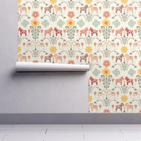 Removable Water-Activated Wallpaper Folk Horse Mod Folk Home Decor Flower Folk