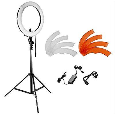 Neewer Camera Photo Studio Youtube Video Lightning Kit  18 Inches 48 Centimeters 55W Dimmable Led Smd Ring Light With Color Filter 75 Inches 190 Centimeters Light Stand  Ball Head Hot Shoe Adapter