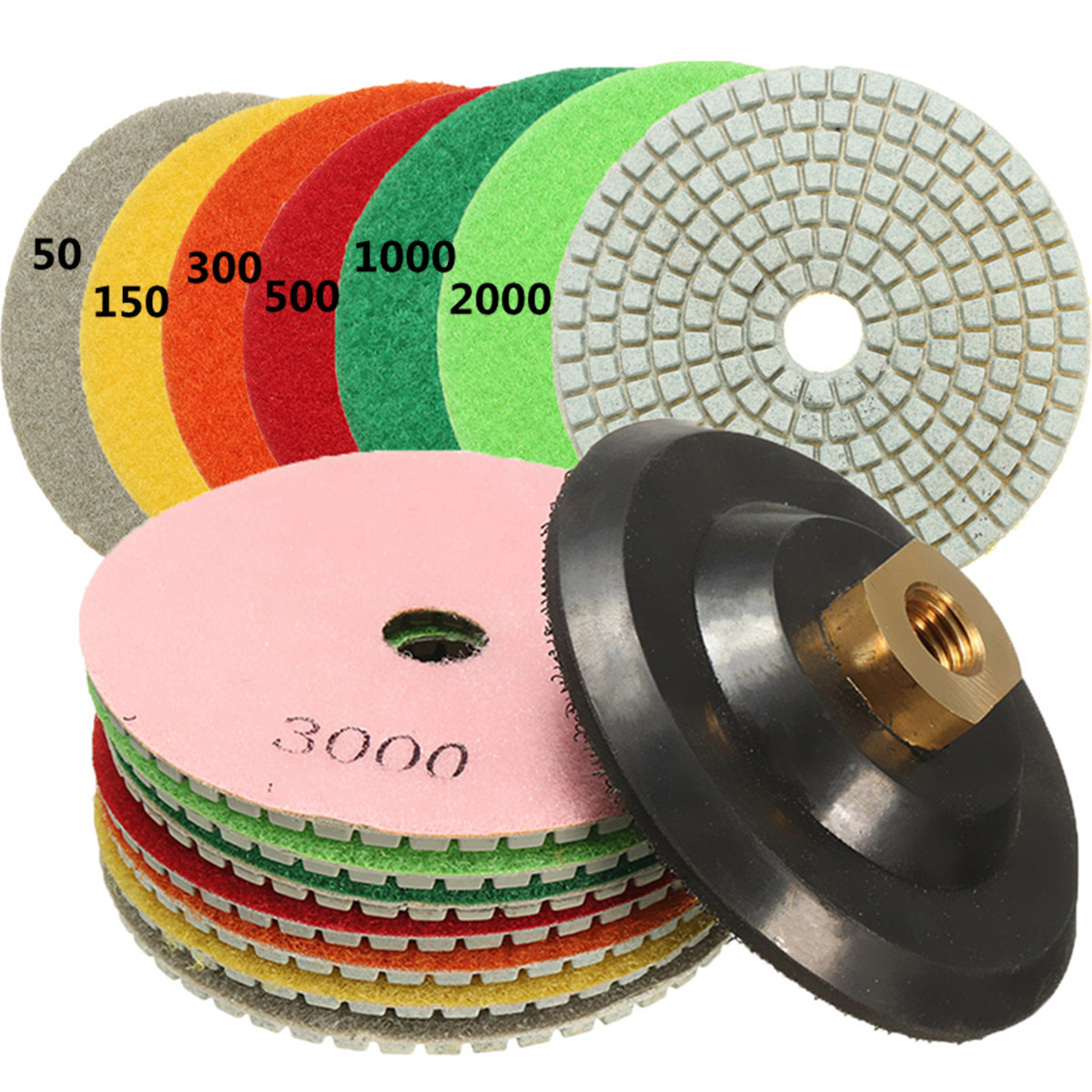 Diamond Polishing Pads  4 inch wet//dry KitFor Granite Marble Concrete Stone 16x