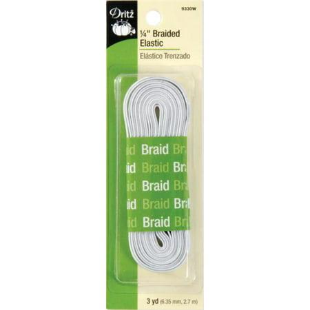 "Dritz Braided Elastic 1/4""X3yd-White"
