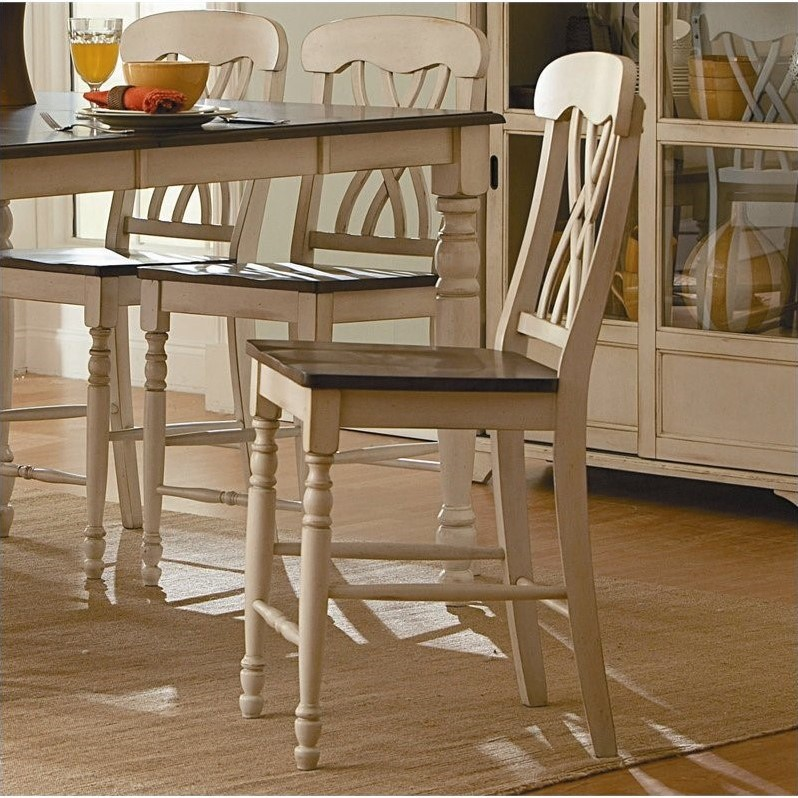 Trent Home Ohana Counter Dining Chair in White and Cherry (Set of 2) by Homelegance