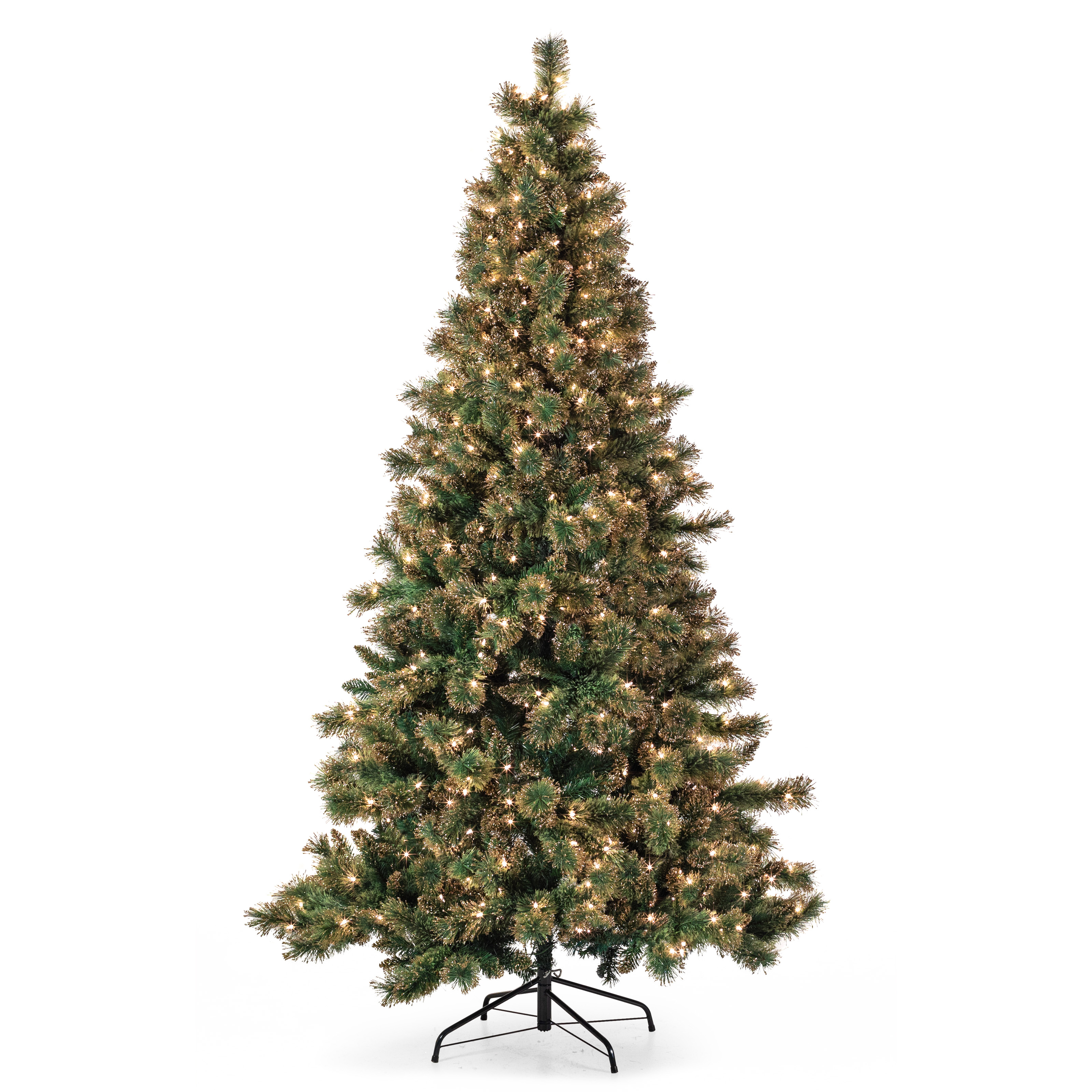 Belham Living 7 5ft Pre Lit Gold Dusted Artificial Christmas Tree With Clear Lights Green