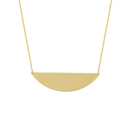 14k Gold Circle Drop (14k Yellow Gold Half Circle Necklace Adjustable)