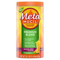 Metamucil Premium Blend, Psyllium Fiber Powder Supplement, Sugar-Free with Stevia, Natural Orange Flavor, 114 Servings