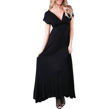 24/7 Comfort Apparel Women's Faux Wrap Maxi Dress