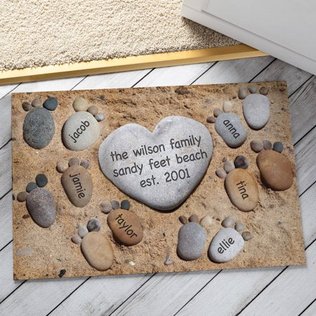Personalized Pebble Feet Doormat Available In Multiple Names - Name Door Mat