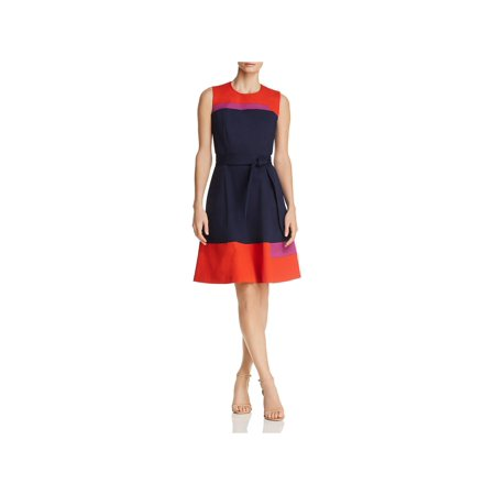 BOSS Hugo Boss Womens Hadesa Colorblock Fit & Flare Wear to Work Dress