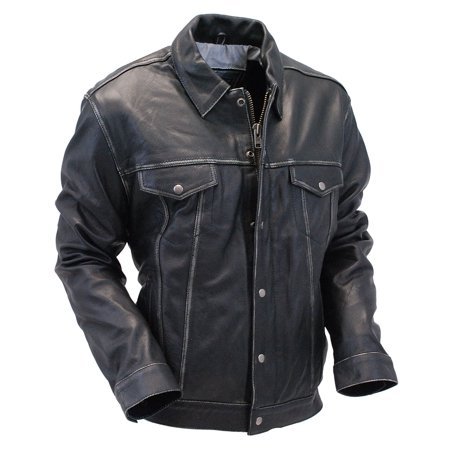 Black Vintage Leather Jean Jacket with Dual CCW Pockets #MA6643K- S