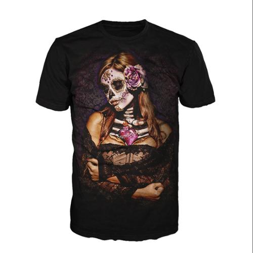 Get Down Art Mens Black Cotton Day Of Dead Lace Artistic Graphic T-Shirt (S) NEW