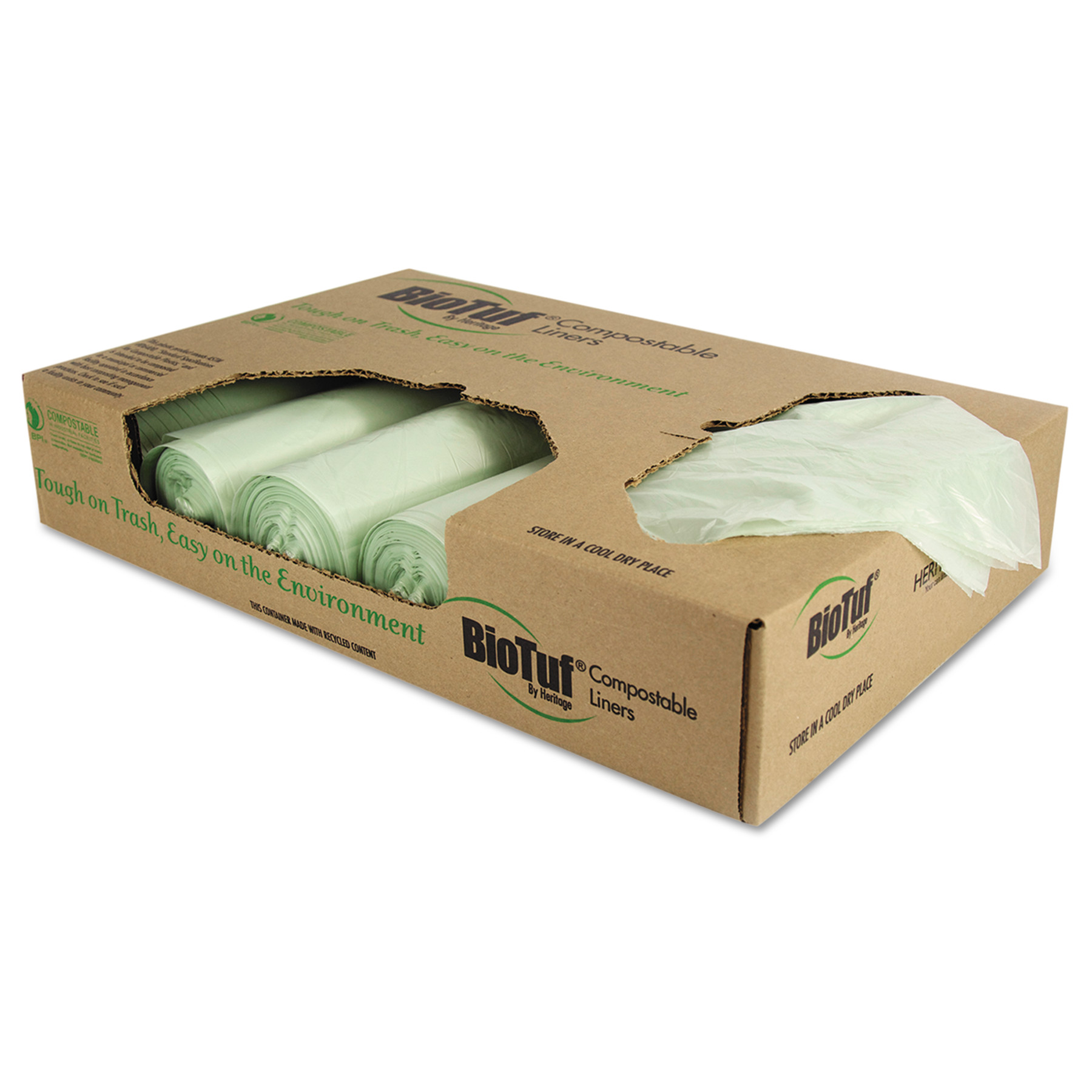 Heritage Biotuf Compostable Trash Bags, 32 gal, 1 mil, 34 x 48, Light Green, 100/Carton