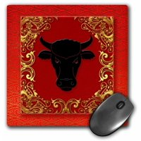 3dRose Chinese Zodiac Year of the Ox Chinese New Year Red, Gold and Black , Mouse Pad, 8 by 8 inches