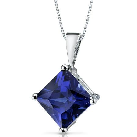 3.50 Ct Princess Cut Created Blue Sapphire 14K White Gold Pendant, 18