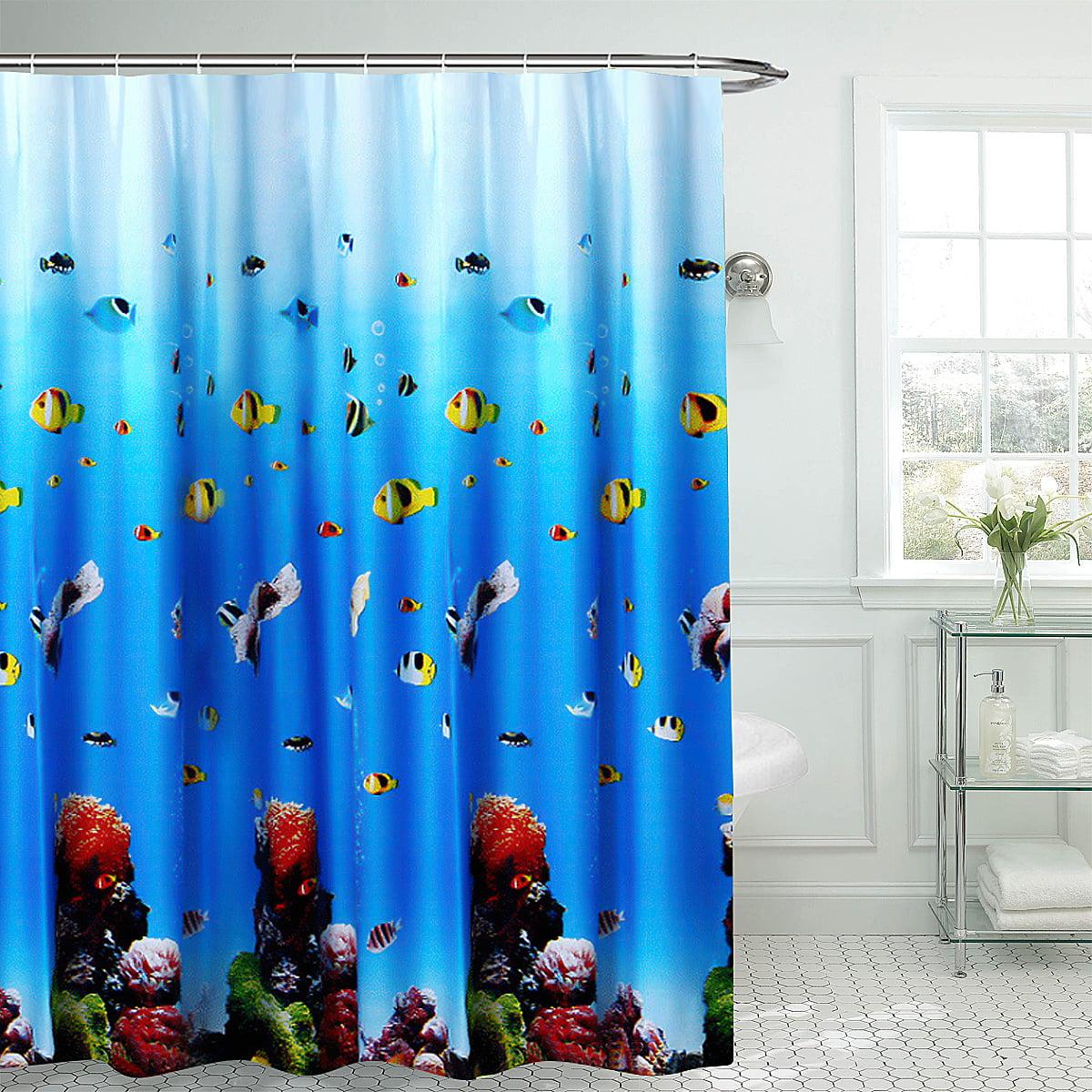 Tropical Ocean Underwater World Colorful Fish Waterproof Shower Curtain Window Curtain Non Slip Mats Bath Carpets Toilet Seat Cover Floor Mat Bathroom Decor Walmart Com Walmart Com