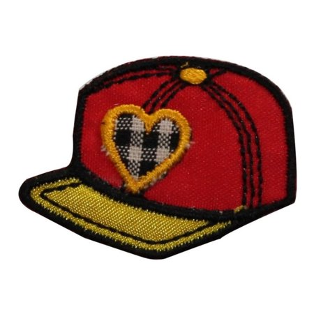 ID 7693 Red Baseball Cap Patch Heart Hat Lid Embroidered Iron On Applique