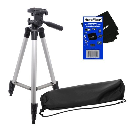 "50"" Light Weight Aluminum Photo/Video Tripod & Carrying Case for Nikon Coolpix S3500, S5200, S6300, S6500, S6800, S9400 & S9500 Digital Cameras w/ HeroFiber Ultra Gentle Cleaning Cloth"