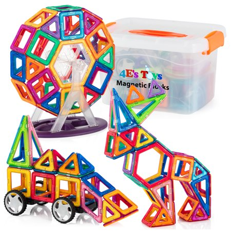 4E's Toys Magnetic Blocks Building Set for Kids, 3D Magnetic Tiles Educational Building Construction Toys, with Storage Container – 110 Pcs