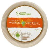"""World Centric Compostable Wheat Straw Plates, 6"""", 20 Count"""