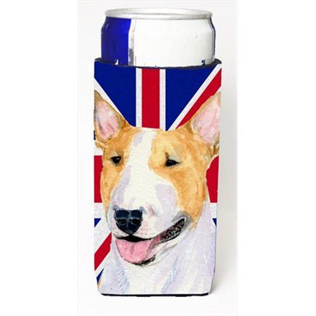 Bull Terrier With English Union Jack British Flag Michelob Ultra bottle sleeves For Slim Cans - 12