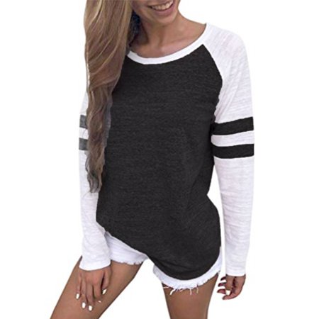 Long Sleeve Shirts for Juniors Striped Splice Color Blouse Patchwork Tops T-shirt Black Size