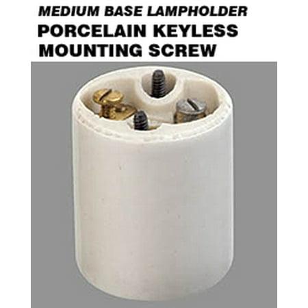 Leviton 10035 Keyless Lampholder Incandescent Medium Base Mounting Screws Spring Center Contact 2-Terminal Screws - White (Package of 10)