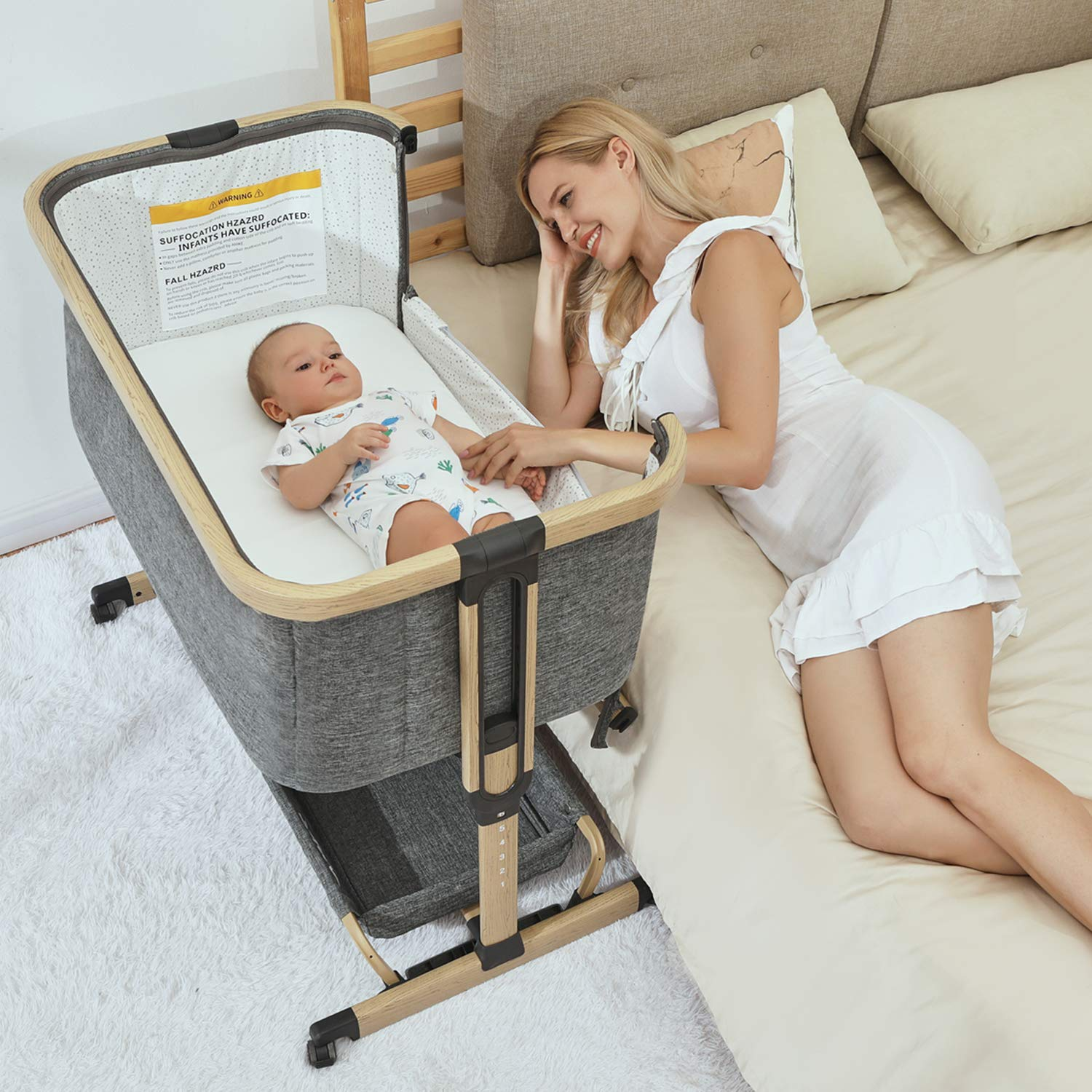 Amke 3 In 1 Baby Bassinets Baby Bedside Sleeper Baby Crib With Storage Basket For Newborn Arms Reach Co Sleeper Adjustable Portable Baby Bed Bedside Bassinet Comfy Mattress Travel Bag Included Walmart Com