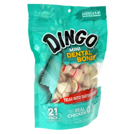 Dingo Dental Bones with Real Chicken (No China Sourced Ingredients) Mini - 21 Pack - (2.5 Bones) - Pack of 2