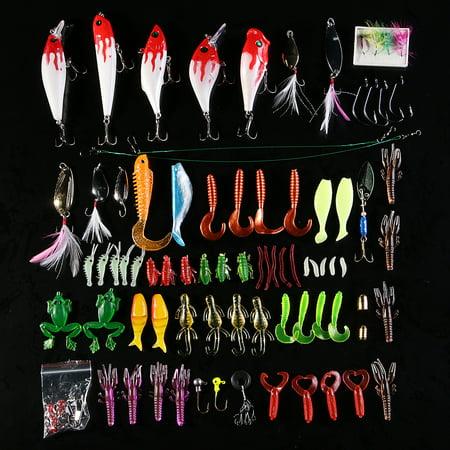 Lot 100 pcs Kinds of Fishing Lures Crank baits Hooks Minnow Bass Baits Tackle+Box
