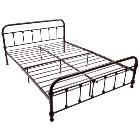 Queen Size Metal Steel Bed Frame W Stable Metal Slats