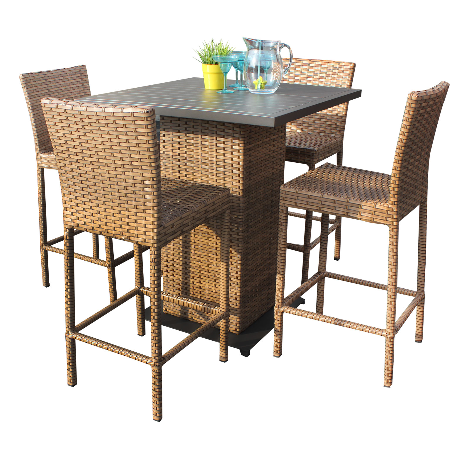 Tuscan Pub Table Set With Bar Stools 5 Piece Outdoor Wicker Patio Furniture by TK Classics