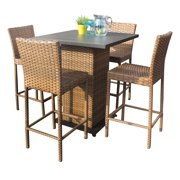 Tuscan Pub Table Set With Bar Stools 5 Piece Outdoor Wicker Patio Furniture by Pub Tables