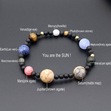 Outtop Men Women Natural Stone Milky Way Beads Yoga Bracelet Bangle