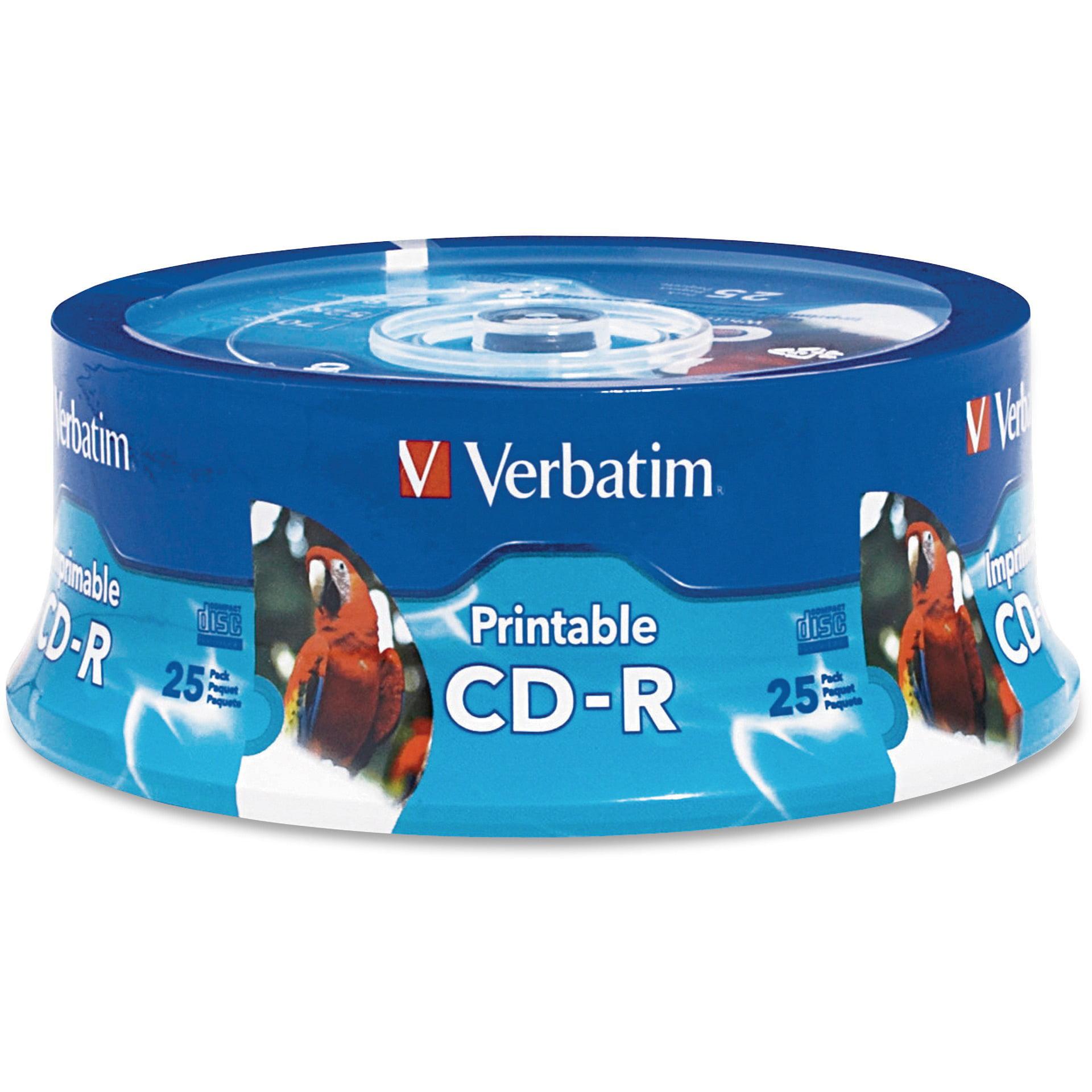 Verbatim, VER96189, Verbatim Write-Once Inkjet Printable CD-R Discs, 25, White