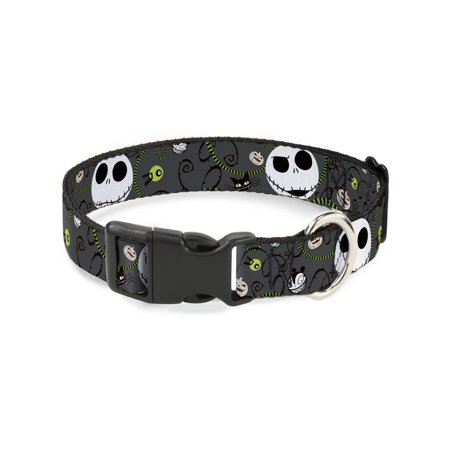 Plastic Dog Collar (Buckle-Down NBC Jack Expressions/Halloween Elements Gray Disney Dog Collar Plastic Clip Buckle,)