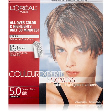 L'Oreal Paris Couleur Experte Express Hair Color + Highlights, Permanent 5.0 Natural Caramel Glaze Medium Brown + Yes to Coconuts Moisturizing Single Use (Best Dye To Use On Natural Hair)