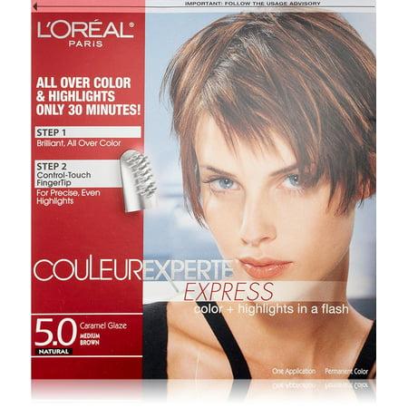 L'Oreal Paris Couleur Experte Express Hair Color + Highlights, Permanent 5.0 Natural Caramel Glaze Medium Brown + Eyebrow
