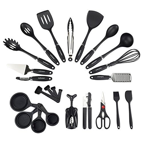 NEXGADGET Complete Kitchen Utensil Set: 24 Piece Nylon and Stainless Steel Cooking and Baking Utensils