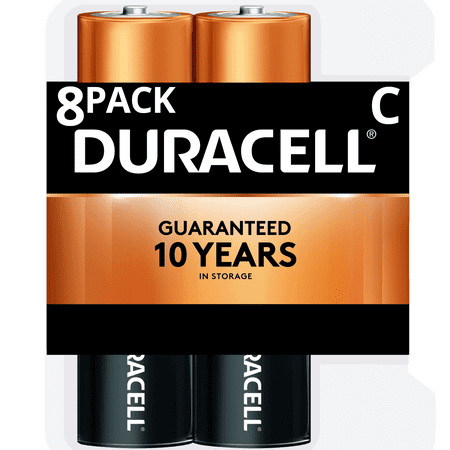 Duracell 1.5V Coppertop Alkaline C Batteries 8 Pack 1.5v Dc Silver Battery