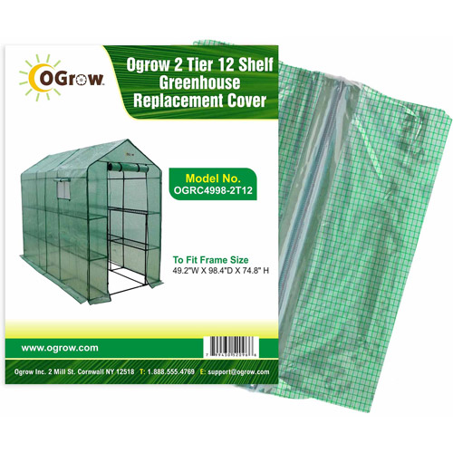 """2 Tier 12 Shelf Greenhouse PE Replacement Cover To Fit Frame Size 49.2""""W X 98.4""""D X 74.8""""H by"""