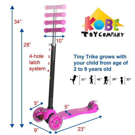 KOBE Junior Pro Mini Scooter - with 4 Swivel LED Light Up Wheels - Kids 2 to 6-yo - Pink - image 2 de 9