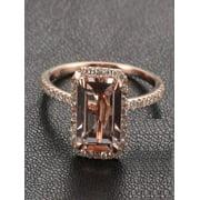 Sale: 1.50 Carat Peach Pink Morganite (emerald cut Morganite) and Diamond Engagement Ring in 10k Rose Gold