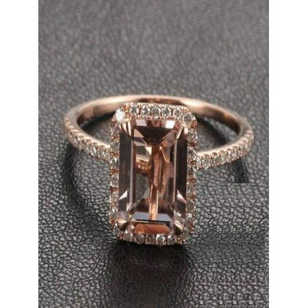 Sale: 1.50 Carat Peach Pink Morganite (emerald cut Morganite) and Diamond Engagement Ring in 10k Rose Gold ()