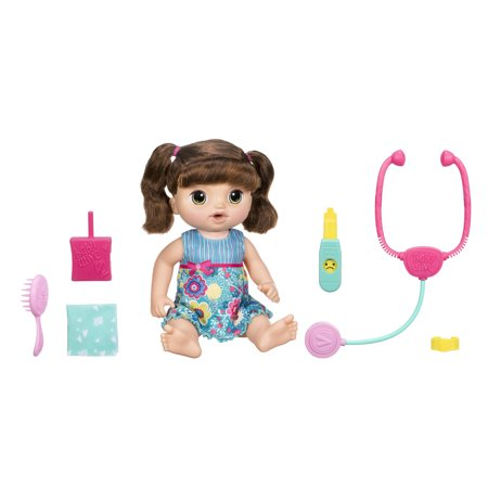 Baby Alive Sweet Tears Brown Hair Baby Doll, 35+ Phrases and Sounds, Drinks, Shows Emotion, Reacts to Sounds, Ages 3+ (Walmart Exclusive)