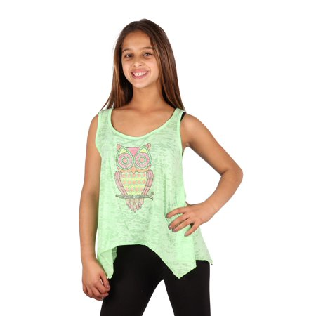 Lori Jane Girls Green Studs Owl Loose Fit Tank Top Walmart Com