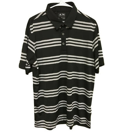 - Adidas Men's Size Large ClimaLite Golf Polo Stripe, Black/Clonme (Black & Grey)