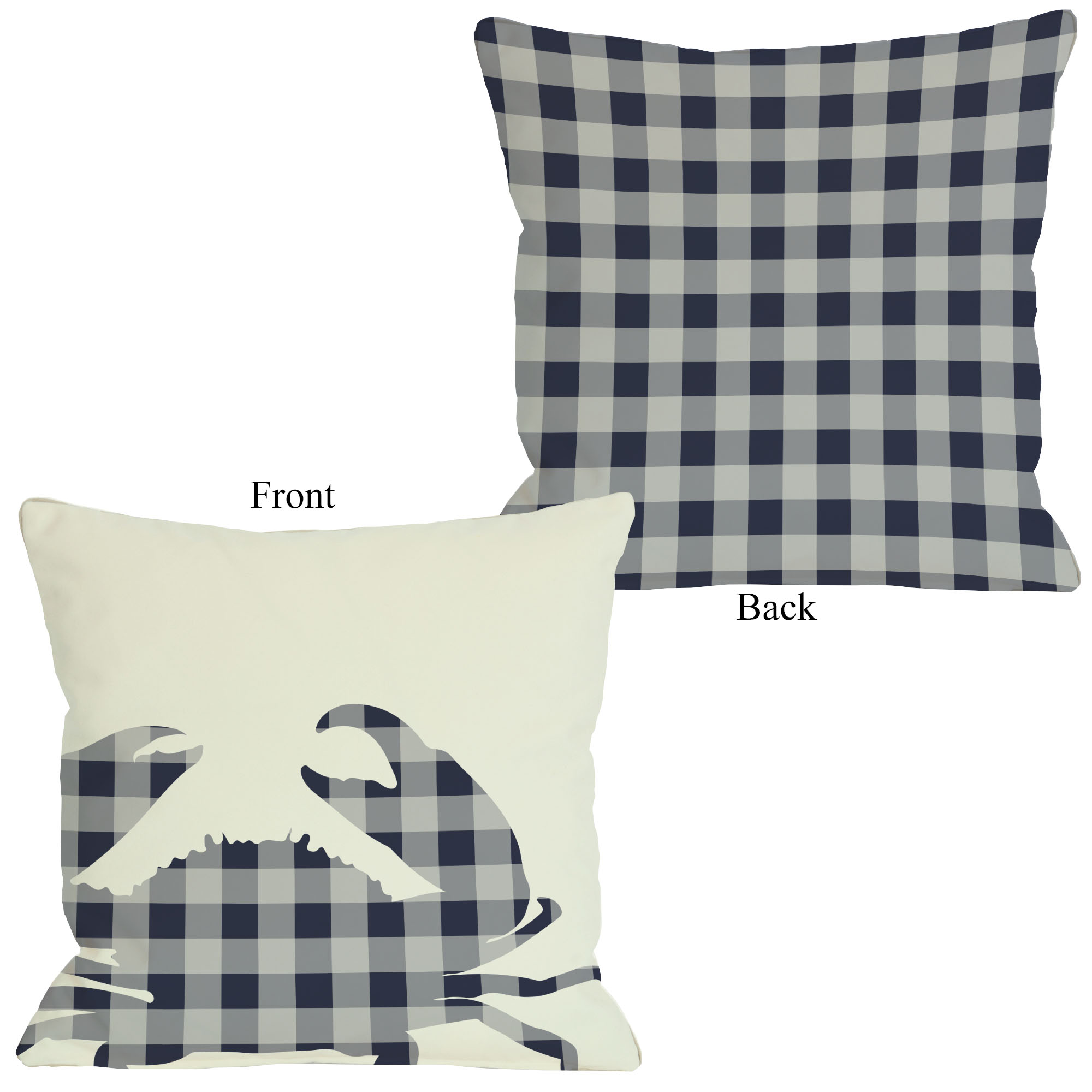Plaid Crab - Navy 16x16 Pillow by OBC