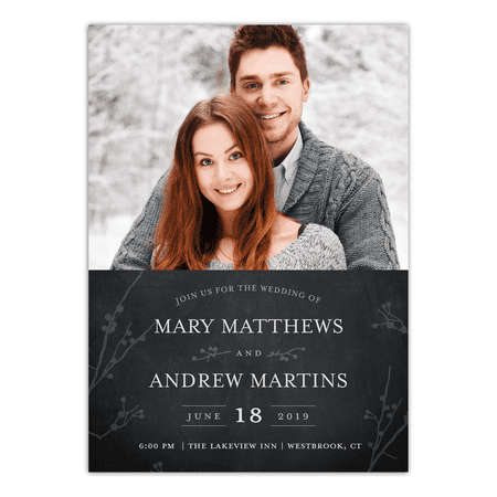 Personalized Wedding Invitation - Rustic Woodgrain - 5 x 7 Flat 2 Picture Photo Cards