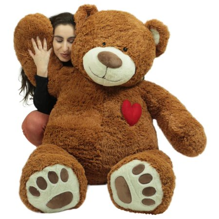 Big Plush Giant 5 Foot Teddy Bear with Heart on Chest, Honey Brown Color, Huge Plushie Gift of